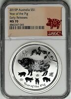 2019 P $1 Australia 1 oz Silver Year of the Pig NGC MS70 Early Releases