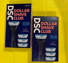 (2 BOXES) Dollar Shave Club 4 Blade Razor- 4 Refill Cartridges each Box