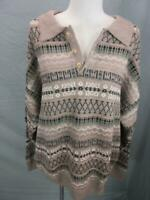 NWT Jantzen Size L Mens Brown Knitted Henley Collared Pullover Sweater T667