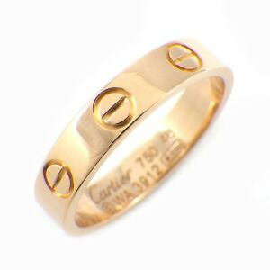 Auth Cartier Ring Mini Love 750(18K) Rose(Pink) Gold #48 US4.5