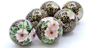 2pc 25 mm Vintage Closionne Enamel Beads. Hand Painted in Floral Designs