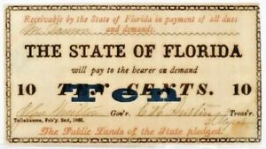 1863 THE STATE OF FLORIDA 10c Obsolete Currency Scrip - AU condition