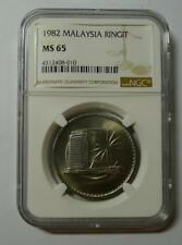 MALAYSIA 1982 1 RINGIT COIN  - NGC MS 65