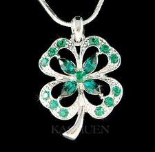Four Leaf Clover Shamrock made with Swarovski Crystal Irish St Patricks Necklace