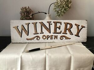 Winnery Wooden Sign Hand Painted Vintage Style Distressed Gold & White Bar Shop