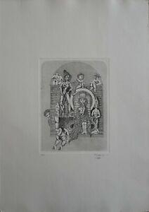 """Francesco Musante acquaforte 1975 """"la Regina""""  50x35 firmata numerata"""