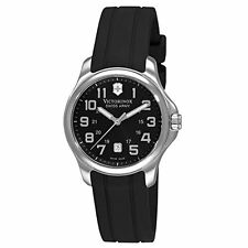 Victorinox Swiss Army Officers Black Dial SS Rubber Quartz Ladies Watch 241367