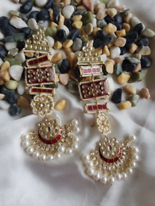 Bollywood Indian Kundan bridal Gold Plated long earrings Chain Red Enameled Set