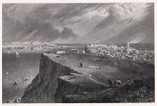LISSABON LISBOA From Almada Original-Kupferstich von Batty 1830 Orig.