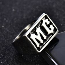 Men 316L Silver Stainless Steel Gothic MC Wide Band Biker Rings 8-13 16MM