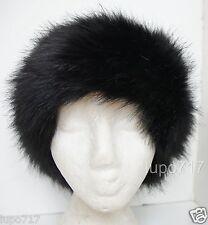 BLACK SOFT FLUFFY FAUX FUR HEADBAND HAT SKI EAR WARMER MUFFS NEW ONE SIZE 60CM