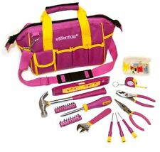 GreatNeck 32-Piece Essentials Around the House Tool Set in Pink Bag