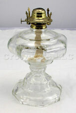 Large Glass Footed Oil Lamp W/ Brass Lamp Fixture