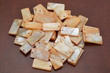 50 PCS DYED ORANGE RECTANGLE BLANK SHELL BEADS CHARMS #T-1171