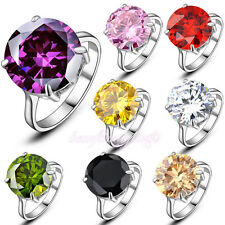 Multicolor Big Crystal Solitaire Ring 18K White Gold Plated R760-R767