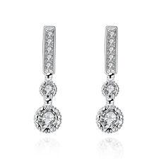 Sterling 925 Silver Ear Stud Drop Dangle Earrings Crystal Jewelry Pendant New