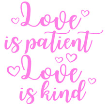 Love Is Patient Quote Vinyl Decal Sticker Frame Gift Box Valentines Home Decor