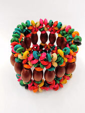 Handmade Fashion Stylish Multi-Color Wooden Beads Stretch Elastic Wide Bracelet