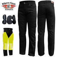 Men's Motorcycle Black Stretch Jeans fully Lined with DuPont™ KEVLAR® fiber
