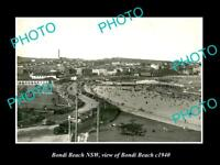 OLD LARGE HISTORIC PHOTO OF BONDI BEACH NSW, VIEW OF THE BEACH & ESPLANADE c1940