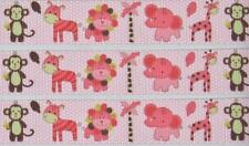 """BB Ribbon BABY ANIMALS ON PINK 1m grosgrain 7/8"""" 22mm hair bows dummy clips"""