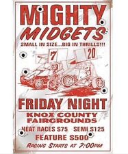 """Mighty Midget Races"" New METAL ""Garage Decor"" Sign"