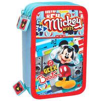 Disney Mickey 56324 Estuche Triple, Premium, 3 Compartimentos, Marcadores Giotto