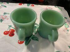 Fire King Restaurant Ware Jadeite Heavy Mugs~2~ 1940's