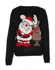 Womens Ugly Christmas Sweater Santa and Reindeer Size S/M