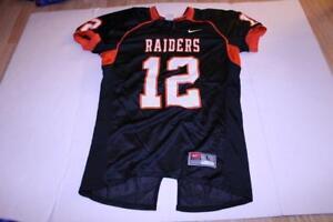 Men's Sioux City East Black Raiders #12 L Football Jersey (Black & Orange) Nike