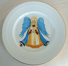 HUTSCHENREUTHER PLATE ANGEL Christmas Blue Wings Candle Star HOHENBERG GERMANY