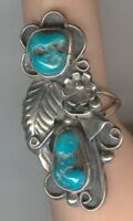 Free-form Turquoise Cabochons and Sterling Silver set in signed size 7 1/4 Ring
