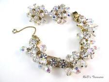 Vintage JULIANA D&E Clear Rhinestone & AB Dangle Bracelet & Clip On Earrings SET