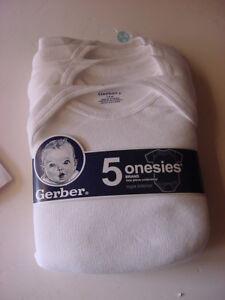 NEW - 5 GERBER ONESIES 3-6 MONTHS