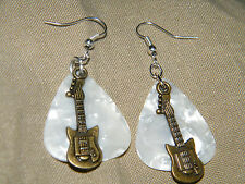 WHITE GUITAR PICKS EARRINGS ROCK ROLL BRONZE BASS GUITAR SILVERS EAR WIRES NEW!