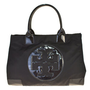 Auth Tory Burch Nylon,Patent Leather Tote Bag Black 02GC468
