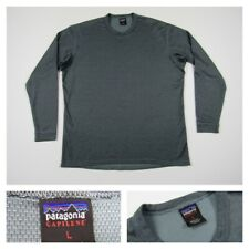 Patagonia Mens Gray Thin Striped Long Sleeve Large Capilene Base Layer Pullover