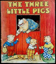 THE THREE LITTLE PIGS ~ Vintage Children's Linen Softcover Nursery Story Book