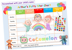 Potty Toilet Training Reward Chart Kids Boys Girls Stickers Star - Reusable CoCo