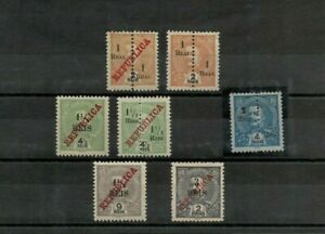 Port. INDIA D. Carlos 7 stamps with and without overprint and surcharge w/defect