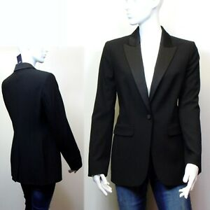 M&S Single Breasted TUXEDO style BLAZER JACKET ~ Size 12 ~ BLACK