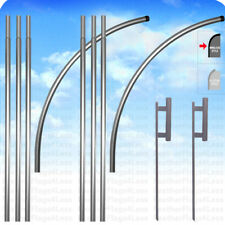 2 Pack Deluxe Windless Pole Amp Spike Set For Swooper Feather Flag Kit