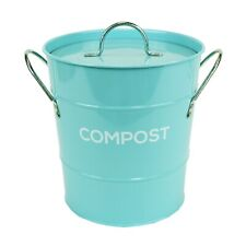 Bleu clair compost caddy avec innter seau-cuisine Bac de compostage-Métal Seau