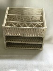 Vintage White Wicker Letter Bill Sorter  Mail Organization Desktop Wall