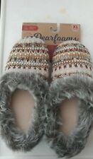 WOMENS DEARFOAMS SLIPPERS KNIT PATTERN WITH LUREX XL (11-12)CALLED OATMEAL NWT