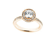 Natural 1.10Ct Round Cut Diamond Halo Bridal Engagement Ring Solid 10k Gold