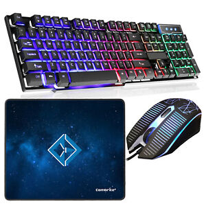 Rainbow LED Gaming Keyboard And Mouse Set USB Wire For PC Laptop PS4 Xbox One UK