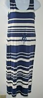Boden Navy/White Stripe Nautical Knit Midi Dress Women 4 Petite Drawstring Waist