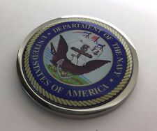 "US NAVY 3D Domed Emblem Badge Car Sticker METAL Chrome Bezel ROUND 3 3/8"""