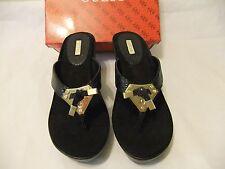 GUESS Xandie Black Reptile Thong Wedge Platform Sandal Size 9.5 NIB $80